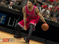 Derrick Rose unleashing a cross-over dribble in NBA 2K13