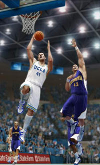 UCLA player laying it in over a Cal defender in NCAA Basketball 10