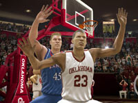 Cover athlete Blake Griffin in the low post against a Jayhawk player in NCAA Basketball 10