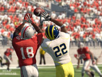 An Ohio State reciever and Michigan State defender battling for a pass in NCAA Football 13