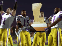 LSU players celebrating a victory against rival Arkansas with the traditional Golden Boot trophy, in NCAA Football 13