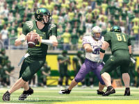 Oregon Ducks quarterback working out of the pocket in NCAA Football 13
