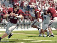 Crimson Tide quarterback working out of the pocket in NCAA Football 13