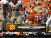 Injury alert screen in 'NCAA Football 10'