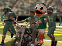 University of Oregon players taking the field with their mascot in NCAA Football 12