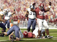 Lineman celebrating after a tackle in NCAA Footbal 12