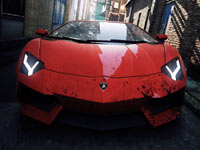 A red Lamborghini alone in an alley in Need for Speed: Most Wanted