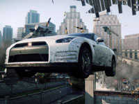 Elluding police by making a dangerous jump in Need for Speed: Most Wanted