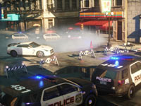 Breaking through a police barricade in Need for Speed: Most Wanted