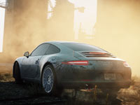 A porsche in an industrial setting in Need for Speed: Most Wanted