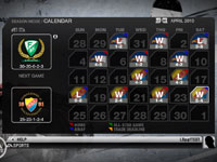 Season Mode monthly calendar overview in 'NHL 10'