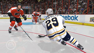 Weaving through the defense to get to the goalie in NHL 12