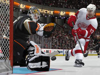 A point-blank shot on goal in NHL 12