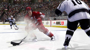The Coyotes Shane Doan taking a shot in NHL 13