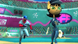 A MLB player trying to beat out a single against a Kitty Katswell in Nicktoons MLB