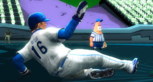 A MLB player sliding into a base as Patrick Star looks in Nicktoons MLB