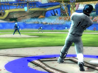A MLB player at bat in a game exclusive ballpark in Nicktoons MLB