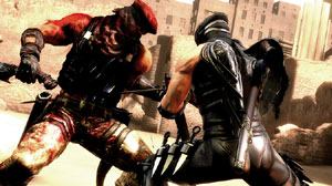 Ryu Hayabusa delivering a precision blow in close combat in Ninja Gaiden 3