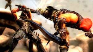 Ryu Hayabusa blocking an enemy's kick in close combat in Ninja Gaiden 3