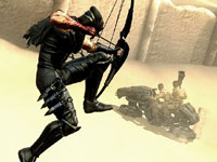 Ryu taking out mechanized enemies from a distance with a bow in Ninja Gaiden 3