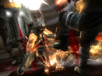 Ryu using the power of a katana sword to throw enemies off balance in Ninja Gaiden 3