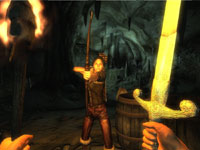 A first-person combat screen from The Elder Scrolls IV: Oblivion 5th Anniversary Edition