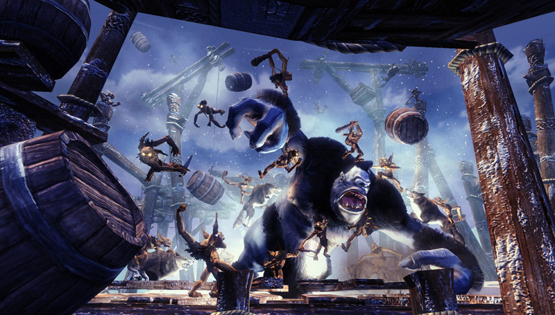 Minions battling a cyclops in 'Overlord II'