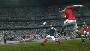 A shot on goal from the far outer wing in Pro Evolution Soccer 2012