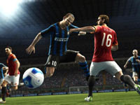 Fighting for the ball in the open in Pro Evolution Soccer 2012
