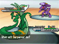 A battle featuring the mythical Pokémon Genesect from Pokémon Black Version 2