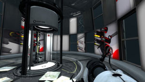 A first-person view from behind a Portal gun in Portal 2