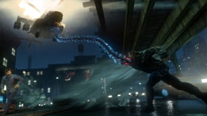 James Heller attacking a helicopter with his tendrils in Prototype 2 Blackwatch Collector's Edition