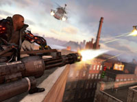 James Heller using a chain gun to take out a helicopter in Prototype 2 Blackwatch Collector's Edition