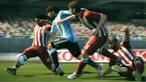 Lionel Messi in the Argentine national uniform splitting an opposing defense in Pro Evolution Soccer 2011