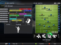 Managerial functionality screen from Pro Evolution Soccer 2011