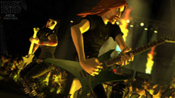 Guitar and bass player rocking it in 'Rock Band: Metal Track Pack'