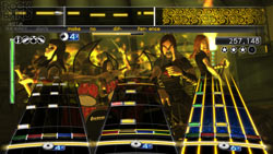 Gameplay screen with full band in 'Rock Band: Metal Track Pack'