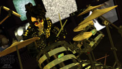 In-game drummer looking a bit like Alice Cooper in 'Rock Band: Metal Track Pack'