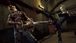 Laying out a chainsaw weilding zombie with a dangerously close kick in Resident Evil 5 Gold Edition