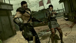 Chis and Sheva in the new Heavy Metal and Business costumes respectively in Resident Evil 5 Gold Edition