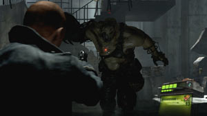 A frightening enemy bearing down on you in Resident Evil 6