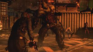 Triple teaming a large enemy in Resident Evil 6