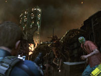Taking aim at attacking zombies in Resident Evil 6