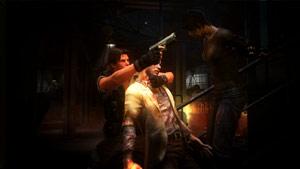 Using a zombie as a shield against attack in Resident Evil: Operation Raccoon City
