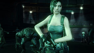 An enemy creeping up on Jill Valentine in Resident Evil: Operation Raccoon City