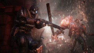 Firing on an oncoming creature in Resident Evil: Operation Raccoon City