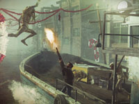 Capelli defending a boat from a Chimeran attack in Resistance 3