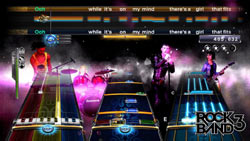 Three-part harmony gameplay from Rock Band 3