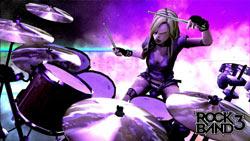 Screenshot of a female drummer rocking hard in Rock Band 3