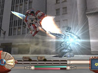 Mech taking to the air in Sakura Wars: So Long My Love